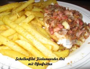 Schollenfilet Finkenwerder Art mit Kartoffelstäbchen aus dem Ofen