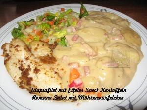 Eifeler Speck Kartoffeln mit Fischfilet und Romana Salat