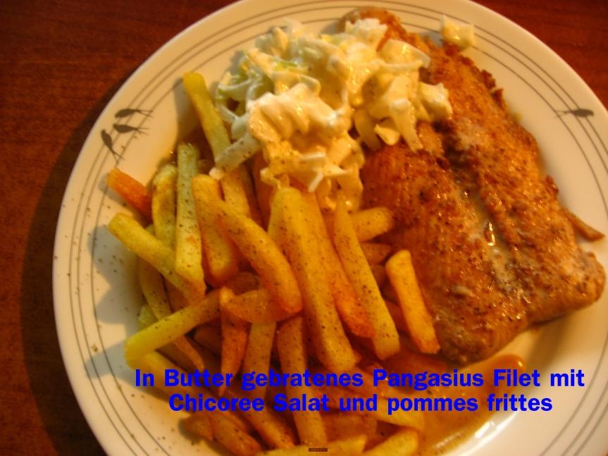 In Butter gebratenes Pangasius Filet mit Chicorée Salat und Pommesfrittes