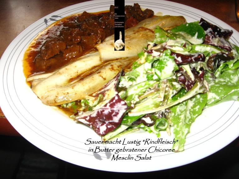 Rindfleisch Chicorre Mesclin Salat